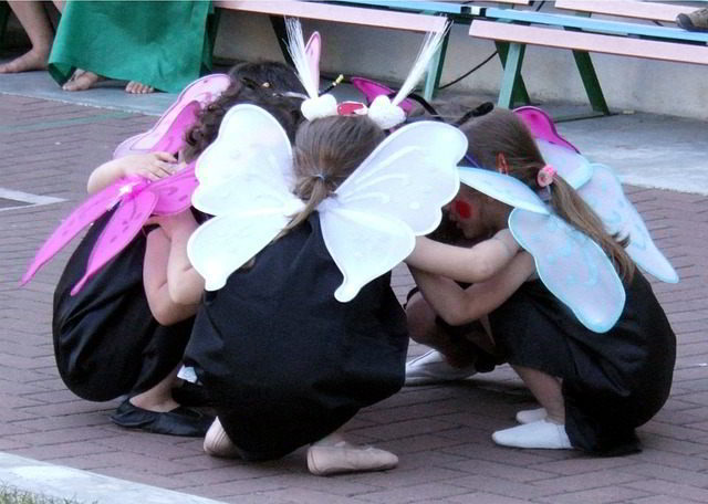 arts integration - group of little girls performing