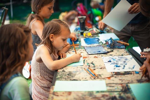students using art materials