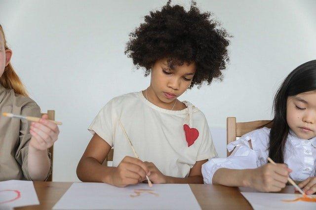 kids using art materials